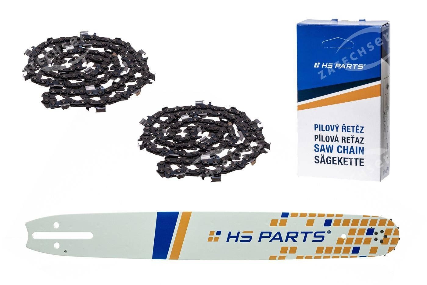 """HS PARTS Führungsschiene 20""""(50cm) + 2x Sägekette Vollmeißel .3/8"""" 1,5mm 72TG Husqvarna"""